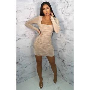 Nude Square Neck Ruched Bodycon Mini Dress NWT